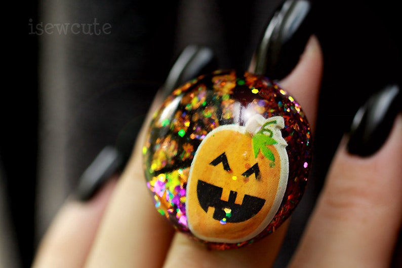 Halloween Ring Spooky Cute Pumpkin Ring Halloween Party image 0
