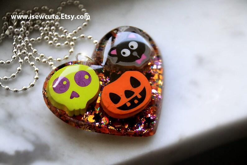 Halloween Jewelry Spooky Cute Necklace Black & Orange Heart image 0