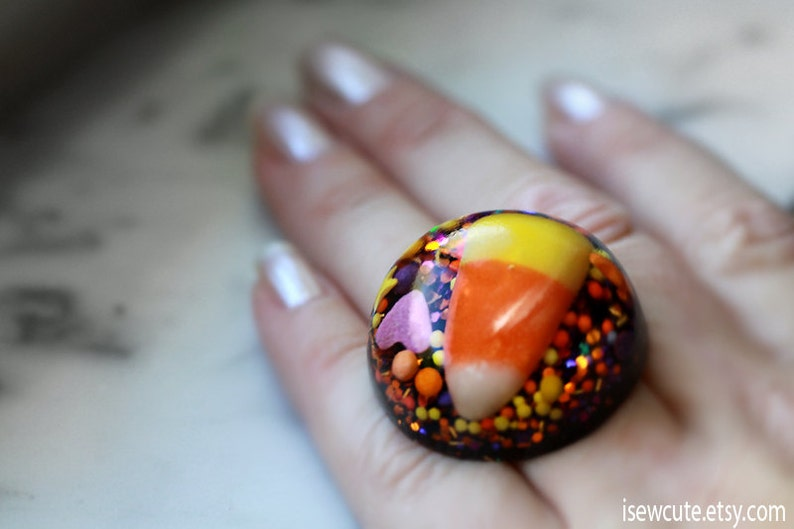 Candy Corn Ring Halloween Candy Novelty Jewelry Trick or image 0