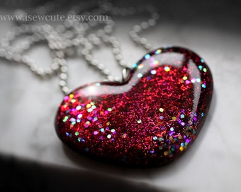 Unique Resin Necklace, Glitter Heart, One of a Kind, Statement Jewelry, Valentine Gift Idea for Her, Heart Necklace Handmade by isewcute