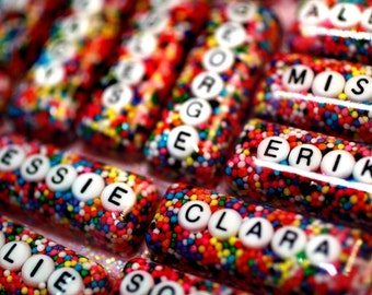 The Original Personalized Custom Name Rainbow Sprinkles Necklace - Your Name in Candy - Custom name word jewellery handmade by isewcute