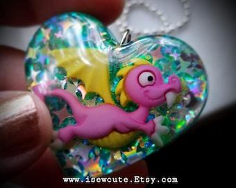Cute Sparkly Dragon Necklace, Dragon Heart Jewelry, Glitter Dragon Pendant Necklace, Unique Dragon Resin Heart Pendant Made in USA isewcute