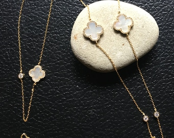 Long Clover Necklace, Clover Necklace, Gold Clover Necklace, Sterling Silver Necklace, Clover Jewelry, Layering Necklace