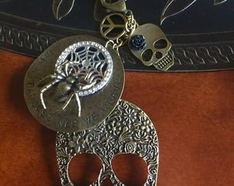 Beautiful Gothic Day of the Dead Spider-- Key Chain -Key Ring All Brass -Oh What A Tangled Web We Weave