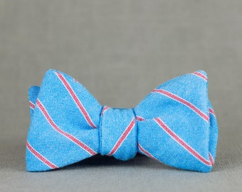 426b00d3279c sky blue preppy stripe bow tie // cotton blue & red self tie bow tie // rad  unisex bow tie