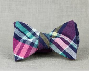purple, cyan, magenta, & yellow plaid bow tie // purple rainbow self tie bow tie // rad unisex bow tie