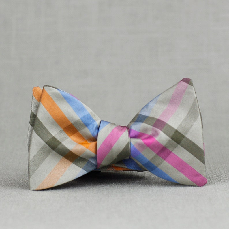 76131926173e82 Silk plaid bow tie in grey hot pink periwinkle and charcoal