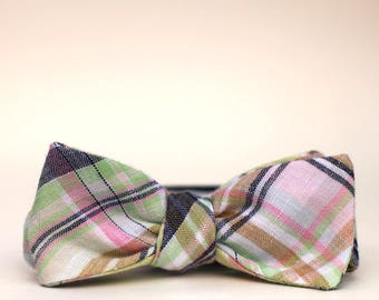 seafoam, navy, pink, and tan plaid bow tie // mens self tie bow tie // linen plaid bow tie