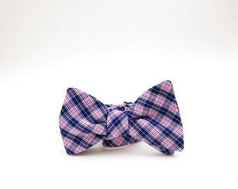 pink and navy plaid bow tie // mens self tie bow tie // pink & blue plaid bow tie
