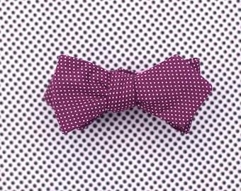 maroon polka dot bow tie // micro polka dot diamond point bow tie in wine & white