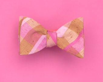neutral & neon plaid bow tie // self tie bow tie in pink and brown