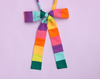 rainbow striped bow tie // unisex rainbow self tie bow tie