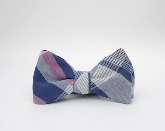navy blue, pink, and white plaid bow tie // mens self tie bow tie // wedding plaid bow tie