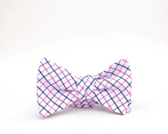 navy blue, pink, and white windowpane plaid bow tie // mens self tie bow tie // pink & blue plaid bow tie