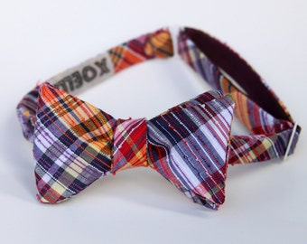CLEARANCE - nubby plum and mustard freestyle bow tie for men