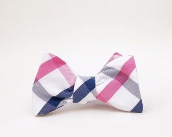 magenta, true blue, and white windowpane plaid bow tie // mens self tie bow tie // pink & blue plaid bow tie
