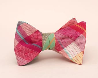 magenta, marigold, aqua, and yellow plaid bow tie // mens self tie bow tie // vintage plaid bow tie