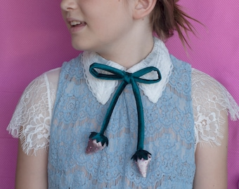 Velvet strawberries bow tie // May's rad bow tie of the month!