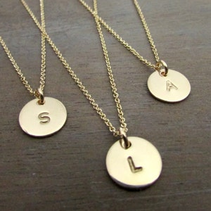 Custom Gold Letter Charm Little Gold Initial Necklace 14K Gold Filled Artisan Made by E Ria Designs Hand Stamped Personalized Jewelry