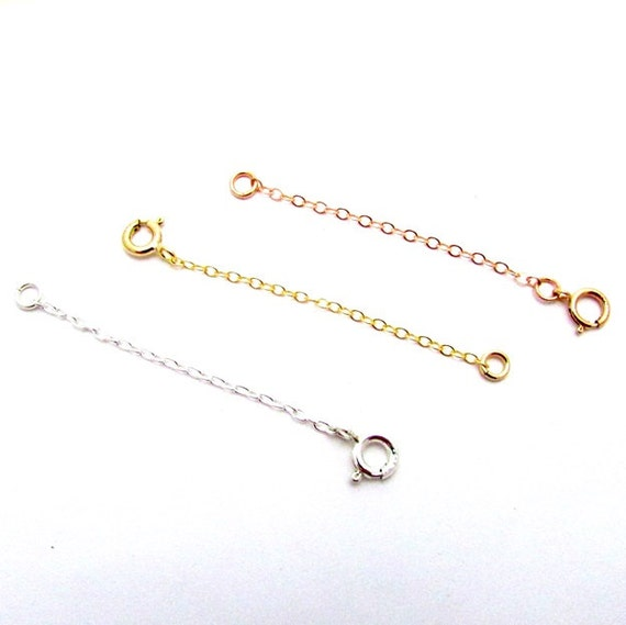 14k Gold 3 Inch Chain Necklace Extender Yellow, White, Rose Pink