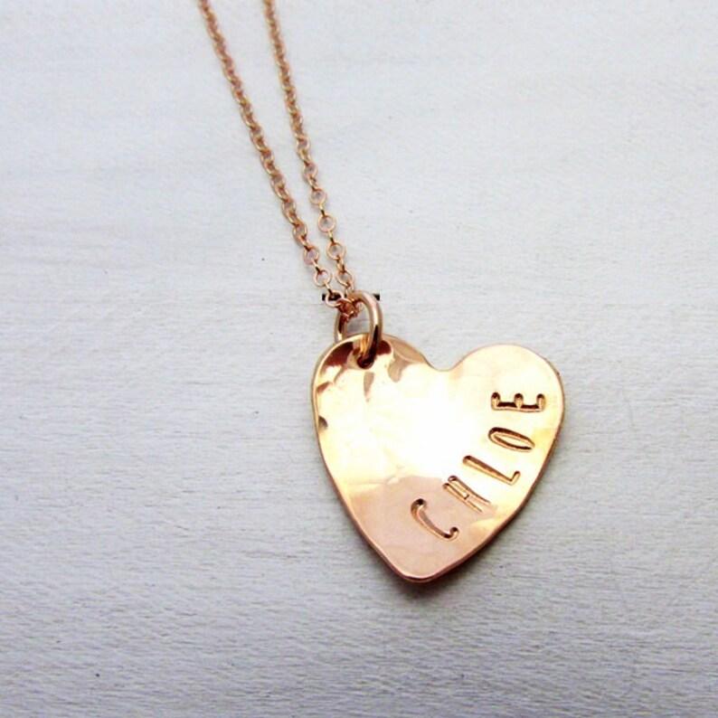 Hammered Rose Gold Heart Necklace  Custom Name Charm  14k image 0