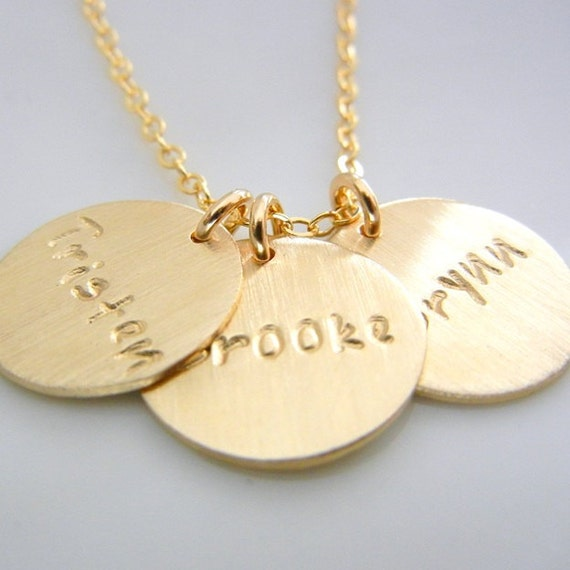 Three charm name necklace custom gold pendants 14k gf etsy image 0 aloadofball Image collections