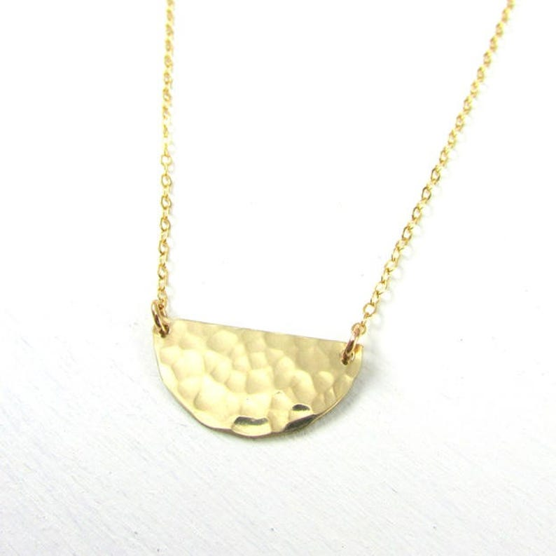 0ace0d5831da71 Semi Circle Necklace Hammered Half Circle Gold Necklace   Etsy