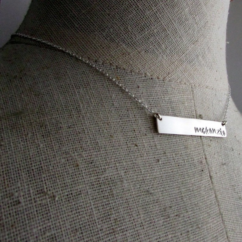 Silver Letter Initial Necklace KATIE E Ria Designs Personalized Sterling Silver Silver Bar Necklace Name Necklace Silver Bar Necklace