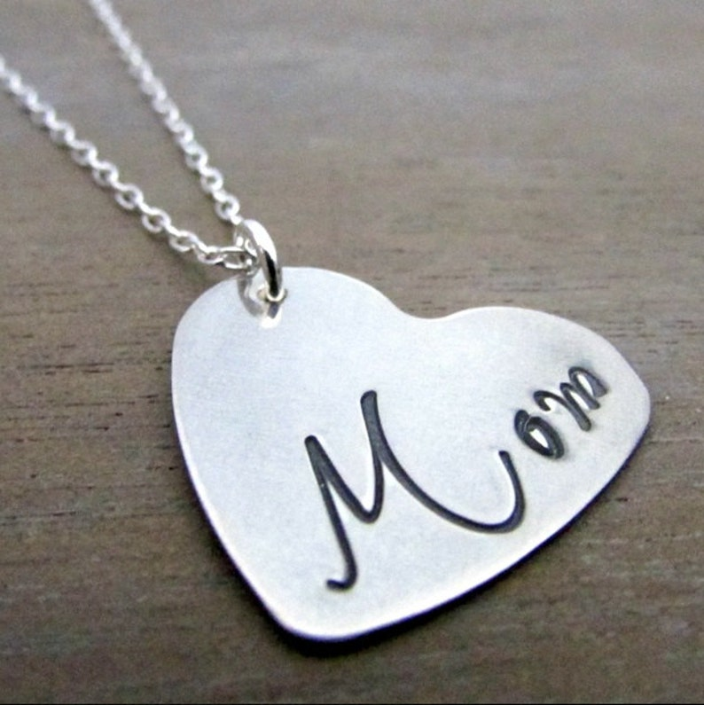 Mother's Day Heart Charm Necklace MOM Modern Calligraphy image 0