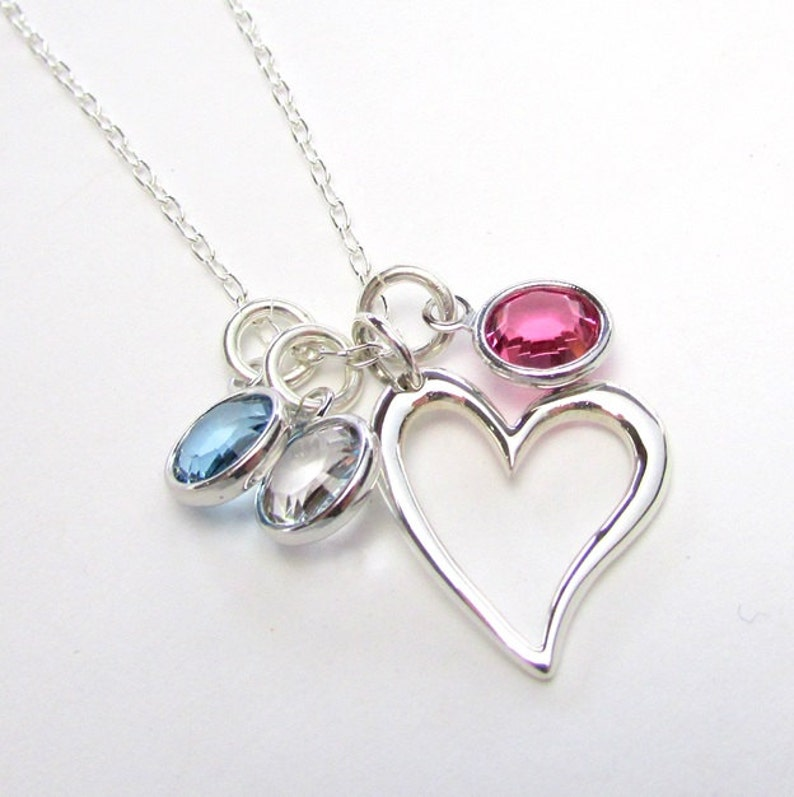 Mothers Necklace  Sterling Silver Heart Necklace  Silver image 0