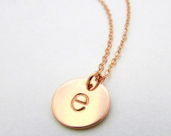 Rose Gold Initial Necklace | Letter Charm Necklace | 14K Rose Gold Filled | E. Ria Designs