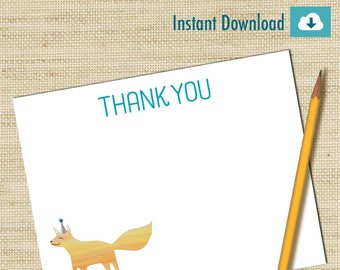 Boys Thank You Cards, Instant Download Note Card,Woodland Note Cards, Fox Thank You Notes, DIY PRINTABLE, Birthday Thank You Cards