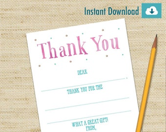 Watercolor Thank You Cards, Art Party, Fill In Cards, Girls Birthday Card, Kids Thank You Cards, DIY PRINTABLE, Children's Thank You Cards