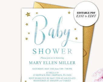 Pink And Gold Baby Shower Invitations Editable Baby Shower Etsy