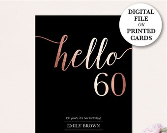 60th Birthday Invitation Modern Faux Gold Foil Hello 60 Sixtieth Cards Glitter Blush FREE SHIPPING Or DiY Printable