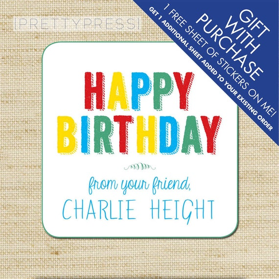 Kids Gift Label Tags Birthday Stickers Personalized