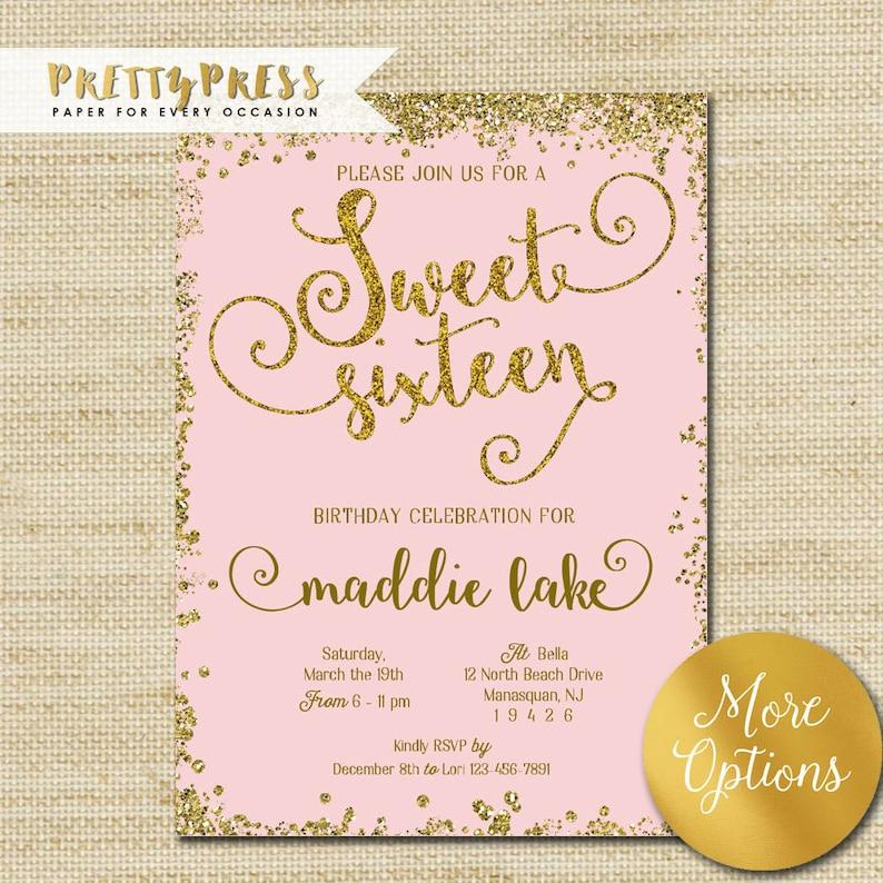 Sweet 16 Invitation Gold Glitter Sweet Sixteen Cards Mint Etsy