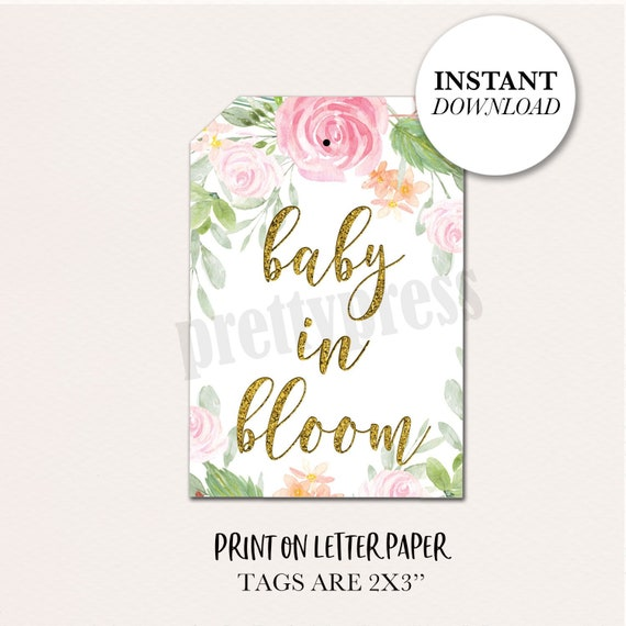 image regarding Printable Baby Shower Tags referred to as Kid Shower Like Tags, Child in just Bloom Tags, Lady Little one Shower, Red and Gold Floral, Printable Youngster Shower Tags, Succulent Favors
