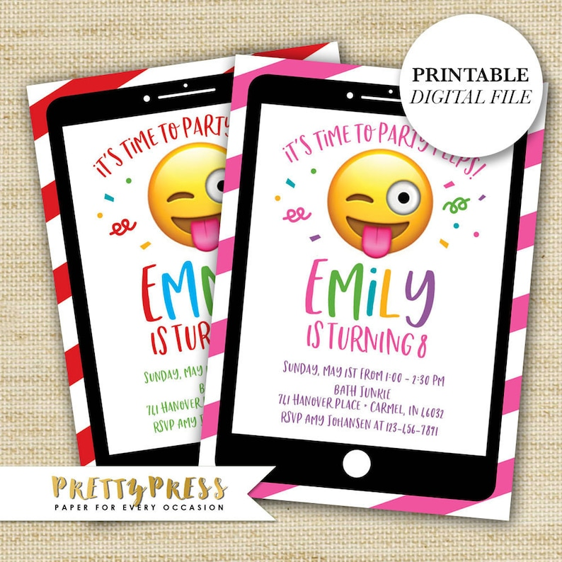 photo relating to Emoji Invitations Printable Free identified as Emoji Invites Printable, Emoji Birthday Invitation, Emoji Bash Invitation, Emoji Invites Electronic, Absolutely free Shipping and delivery or Do-it-yourself Printable