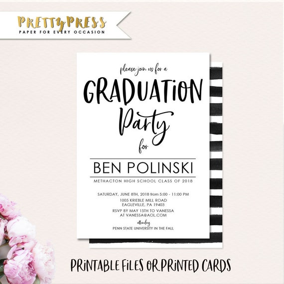 photograph relating to Printable Graduation Announcements identified as Printable Commencement Invitation, Commencement Announcement, Commencement Bash, Female, Boy 2018 Commencement Invitation, Printable or Released