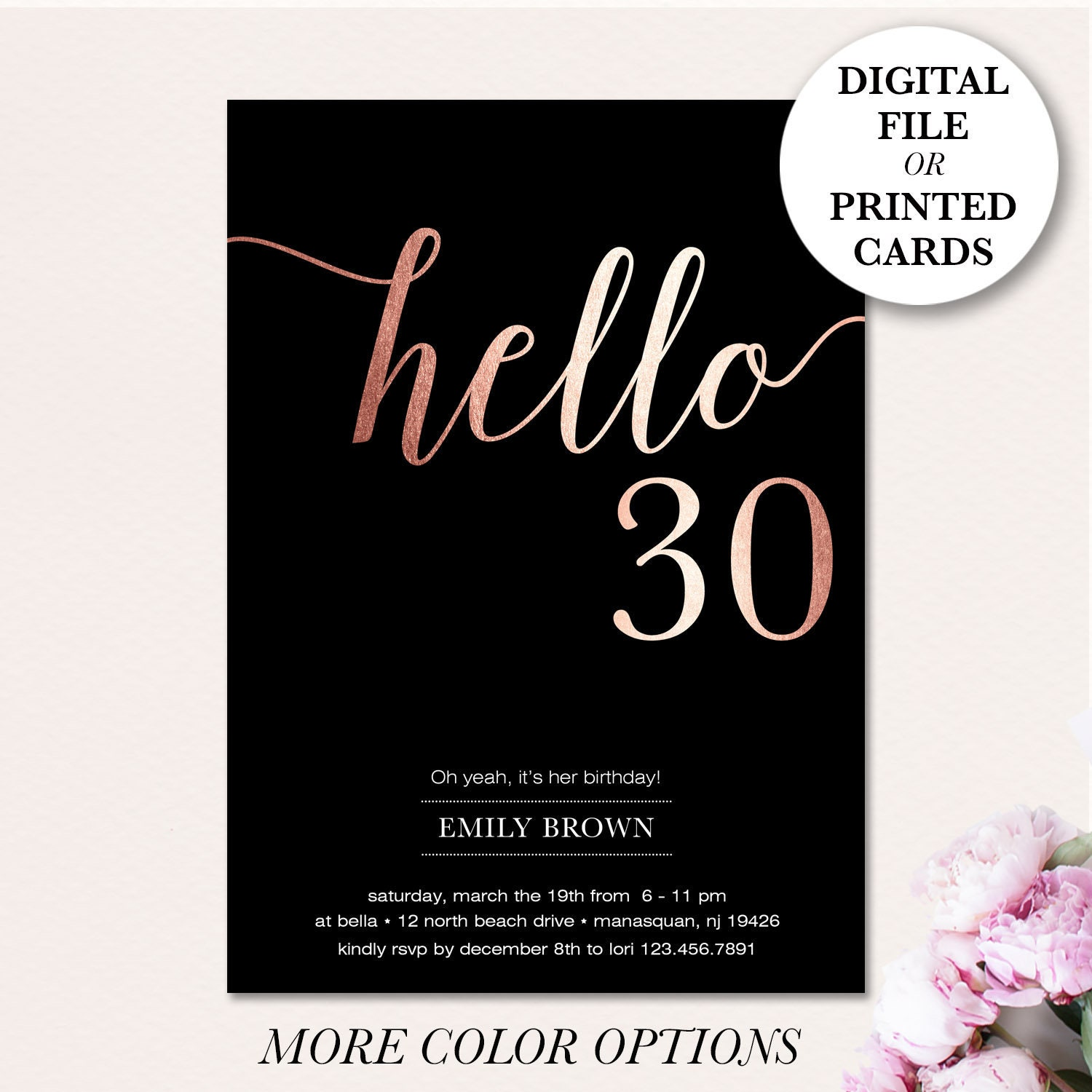 30th Birthday Invitation Modern Faux Gold Foil Hello 30