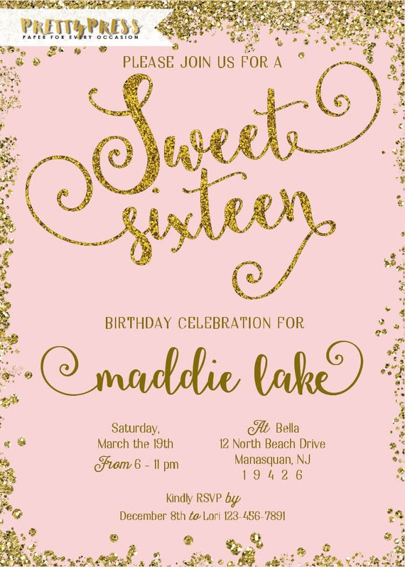 Sweet 16 Invitation Gold Glitter Sweet Sixteen Cards Mint And Peach Eco Friendly Soy Ink Free Priority Shipping Or Diy Printable