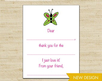 Butterfly Fill In Thank You Cards, Girls Thank You Cards, Birthday Thank You Cards, Kids Stationery, FREE SHIPPING, cards & envelopes