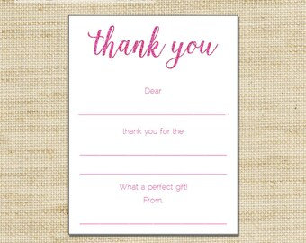 Glitter Thank You Cards - Girls Pink Glitter Birthday Thank You Cards - kids fill in the blank thank you cards FREE SHIPPING