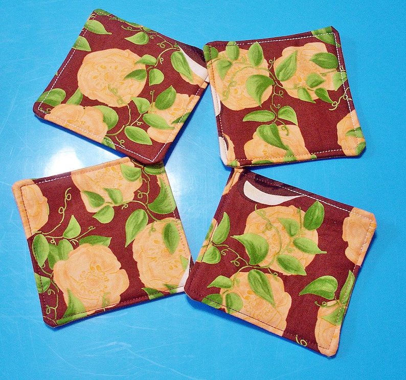 FREE Shipping DIY Quilted Coaster Kit Autumn Roses Easy Instructions