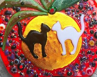 Kissing Cats Pumpkin -Autumn, Fall, Halloween - Fused Dichroic Glass Art / Suncatcher