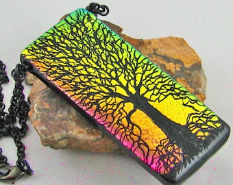 Summer Sunset - Dichroic Glass Tree of Life Pendant/Necklace - Pink and Gold - Hand Etched