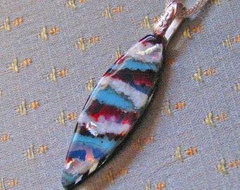 Cyan Garnet Pod Dichroic Glass Pendant / Necklace - Cyan, Garnet, Dichro Layers! Fused Glass