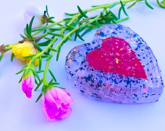 Heart in Heart Glass Paperweight - Fused / Cast Dichroic Glass