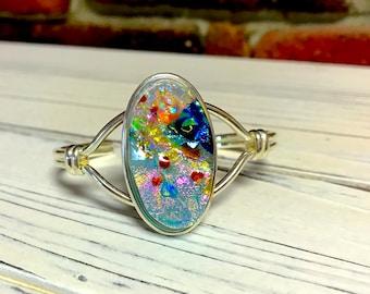 Beautiful Opal-Like Dichroic Glass Bracelet - Fused Glass Silver Cuff
